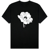 Black and White Print with Large White Flower Skjorte