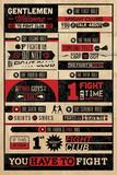 Clube de luta, regras infográficas, em inglês Pôsters