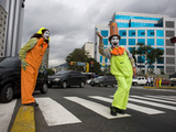 APTOPIX Venezuela Traffic Mimes Photographic Print by Ariana Cubillos