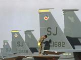 Saudi Arabia Army U.S F-15 Jet Fighters Kuwait Crisis Photographic Print by Bob Daugherty