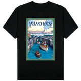 Ballard Locks and Boats, Seattle, Washington T-shirts