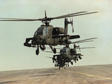 Saudi Arabia Army U.S. Forces Apache Assault Helicopters Kuwait Crisis Photographic Print by Bob Daugherty
