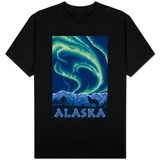 Alaska Northern Lights and Wolf T-Shirt