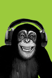 Chimpanzee-Headphones Plakaty