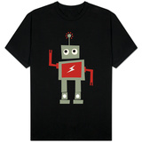 Robot with Red Lightning T-shirts