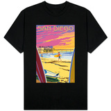 San Diego, California - Beach and Pier T-shirts