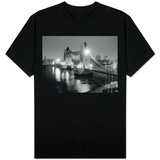A View of Tower Bridge on the River Thames Illuminated at Night in London, April 1987 Shirts