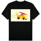 Orange Dino in Yellow Racecar T-Shirt