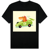 Orange Dino in Green Racecar T-Shirt
