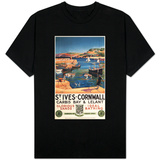 St. Ives, England - Harbor Scene with Girl and Gulls Railway Poster T-Shirt