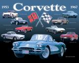 Corvette Collage Plechová cedule
