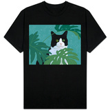 Black and White Cat with Green Eyes T-Shirt