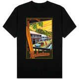Old Lahaina Fishing Town with Surfer, Maui, Hawaii T-shirts