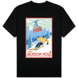 Wyoming Skier and Tram, Jackson Hole T-Shirt