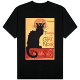 Montmarte, France - Chat Noir Cabaret Troupe Black Cat Promo Poster T-Shirt