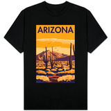 Arizona Desert Scene with Cactus T-shirts