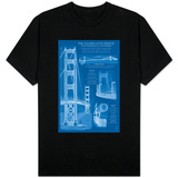 San Francisco, CA, Golden Gate Bridge Technical Blueprint T-shirts