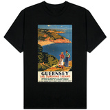 Guernsey, England - Southern/Great Western Rail Couple on Cliff Poster T-shirts