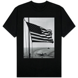 Airplane on Battleship Deck with American Flag in Foreground, World War II T-Shirts