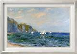 Cliffs and Sailboats at Pourville Framed Canvas Print by Claude Monet