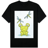 Polka Dot Green Frog with Dragonflies T-Shirt