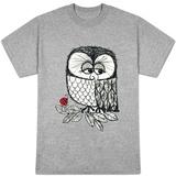 Retro Black and White Owl with Ladybug T-shirty