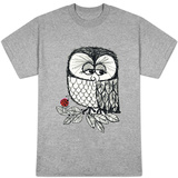 Retro Black and White Owl with Ladybug T-Shirt