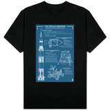Apollo Missions - Blueprint Poster T-shirts