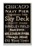 "Chicago ""Cities & Words"" Wood Sign"