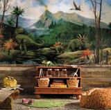 Dinosaur Chair Rail Prepasted Mural Wall Mural