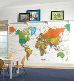 World Map Chair Rail Prepasted Mural Tapetmaleri