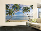 Beach View Chair Rail Prepasted Mural Wall Mural