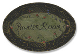 Powder Room Black/Green Floral Oval Wood Sign