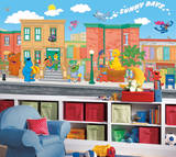 Sesame Street Chair Rail Prepasted Mural Wallpaper Mural