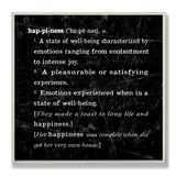 Happiness Definition Inspiration Wood Sign