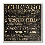 Chicago Landmarks Typography Wood Sign