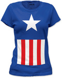 Juniors: Captain America - Suit T-Shirt