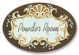 Powder Room Choc/Aqua Crest Top Oval Placa de madeira