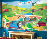 Thomas the Train Chair Rail Prepasted Mural Wall Mural