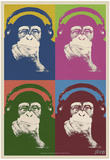 Steez Monkey Headphones Quad Pop-Art Plakát
