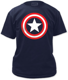 Captain America - Shield on Navy Tシャツ