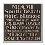 Miami Landmarks Typography Wood Sign