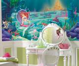 Littlest Mermaid Chair Rail Prepasted Mural Wallpaper Mural