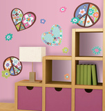 Heart &amp; Flower Peace Signs Peel &amp; Stick Wall Decals Wall Decal