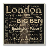 London Landmarks Typography Wood Sign