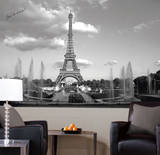 Eiffel Tower Chair Rail Prepasted Mural Wallpaper Mural