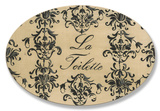 La Toilette Toile Cr&#232;me Oval Wood Sign