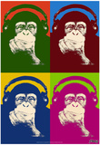 Steez Monkey Headphones Quad Pop-Art Prints by  Steez