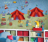 Big Top Circus Chair Rail Prepasted Mural 6' x 10.5' Wall Mural