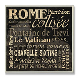 Rome Landmarks Typography Wood Sign